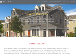 Screenshot of the new AvalonBay 'AvalonPrinceton' website, which has just launched. (via www.avalonprinceton.com)