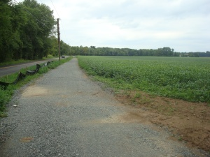 Open fields and meadowland, with the new Quaker Road trail. (click to expand)