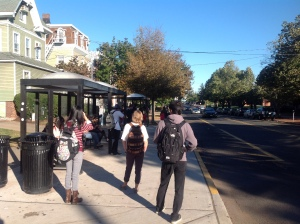 Waiting for the bus on car-free day September 20, 2014. (click to expand.)