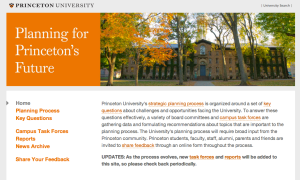 Screenshot from Princeton University's new strategic planning website. (click to expand).