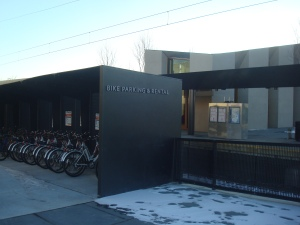 Bikeshare dock, with new Dinky rail station in background. (click to expand.)