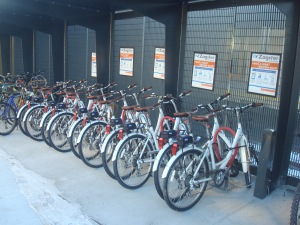 Zagster bikeshare bikes, with lockboxes on the back. (click to expand.)