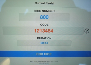 Zagster app showing one-time unique code generated for this rental. (click to expand.)