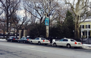 Waiting taxis at the rank outside Princeton University. Local cab drivers are complaining about competition from Uber. (click to expand.)