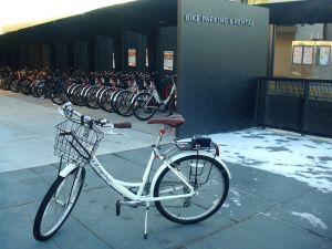 Bikeshare at Princeton rail station, which launched last November. (click to expand.)