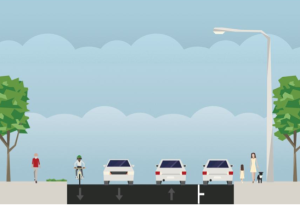 Proposed new street design on Mt Lucas Road between Laurel Road and Ewing Street. Upgraded sidepaths, and a new bike lane on one side of the road (click to expand).