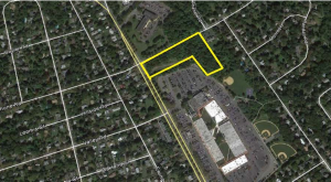 The lot to the north of Princeton Shopping Center is zoned for housing that would deliberately exclude young people. (click to expand)