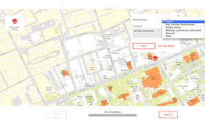 Screenshot from Campus Compass. Users can drag 'shields' onto the map at sites where they go on campus, and add comments. (click to expand.)