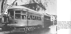 """Trenton-Princeton Traction Company car 21 stands on Witherspoon Street in Princeton near the terminus of the line in September 1934. [Photo from George E. Votava.]"""