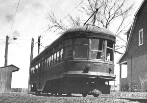 """Waiting for passengers to Trenton is Trenton-Princeton Traction car 21 near Witherspoon Street in Princeton in 1939. The line had been cut back to this point from the former Witherspoon Street trackage by this date. [Photo from Stephen D. Maguire]"" (click to expand)"