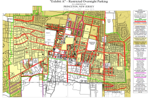 Shaded area shows the extend of the new overnight parking restriction in Princeton, which will be subject to a vote by Council on 6/8/15. (click to expand.)
