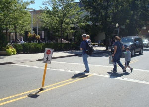 Pedestrian safety measures in downtown Princeton, NJ. (click to expand).