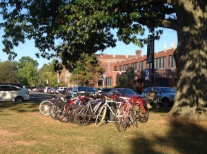 Bike racks are full at Princeton High (click to expand).