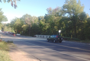 Unmarked crossing of the D&R Canal Towpath at Washington Road in Princeton. (click to expand)