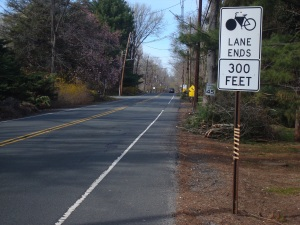 "Mercer Road heading towards downtown Princeton: ""Bike Lane Ends"". (click to expand)"
