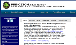 Princeton Municipal website- showing advertisement for 'parking advocate'. (click to expand)