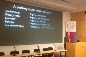Prof Donald Shoup, speaking at the Rutgers Vorhees Transportation Center 10/1/2015, ridicules arbitrary off-street parking requirements that are a standard part of municipal codes (click to expand).