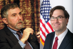 Left, Nobel Prize-winning economist, Paul Krugman. Right, Jason Furman, Chair of the White House Council of Economic Advisers. Both have criticized zoning regulations as contributing to housing cost and inequality. (click to expand). Image credit: Prolineserver and whitehouse.gov