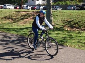 Mayor Liz Lempert on a bike. (click to expand)