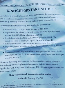 Signs that have appeared around John Street apparently arguing against the 30 MacLean Street redevelopment (click to expand)