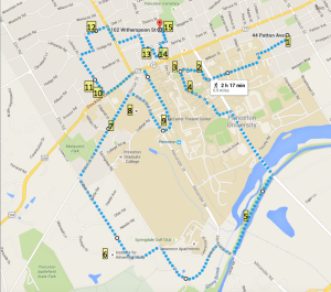 Walking route linking Princeton sites that Michael Graves considered special (click to expand)