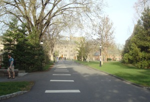 This section of College Road, on Princeton University campus, was closed to traffic in 1964. (click to expand)