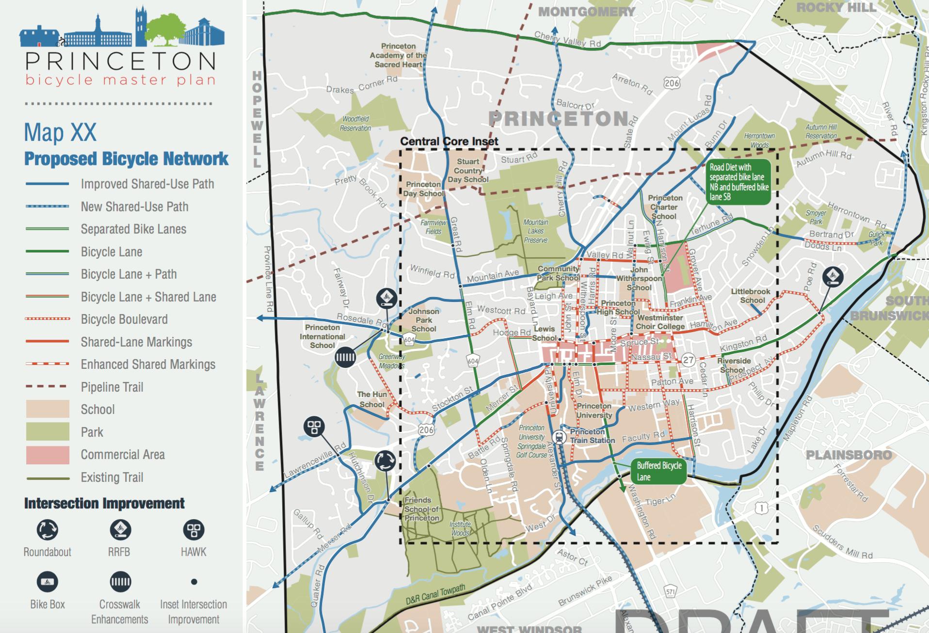 town of princeton reveals draft bicycle circulation plan  - draft princeton bike facilities network (click to expand)