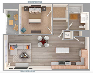 One-bed apartment plan. (Via avaloncommunities.com) (click to expand)