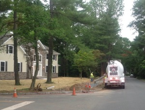 New sidewalk under construction, Shadybrook Lane, Littlebrook neighborhood, Princeton (click to expand)