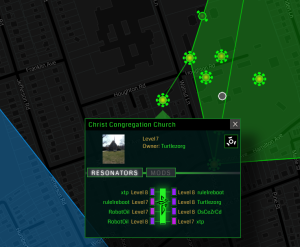 Ingress screenshot showing 'portals' north of downtown Princeton. (click to expand)
