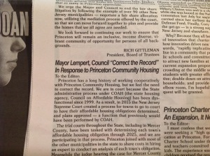 "Letter from Mayor Lempert and Princeton Council members in this week's ""Town Topics"" (click to expand)"