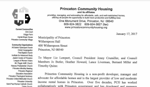 Letter from Princeton Community Housing Board President to Princeton Elected Officials (click to expand)